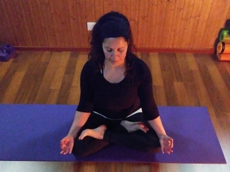 Author practicing yoga